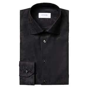 Black Cotton Jacquard Contemporary Fit Evening Shirt