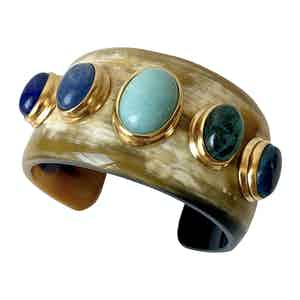 Blue Horn and Amazonite Gaia Cuff V