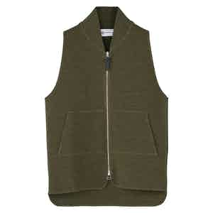Green Wool Drop Back Car Vest