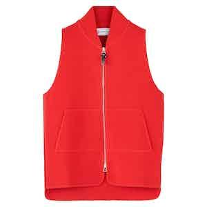 Red Wool Drop Back Car Vest