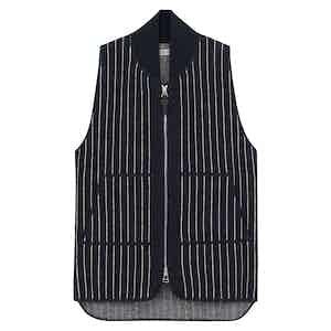 Blue Wool Pinstriped Drop Back Car Vest