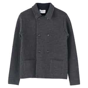 Grey Wool Short Double-Breasted Mac