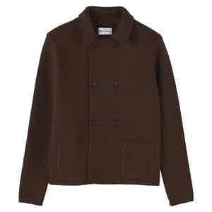 Brown Wool Short Double-Breasted Mac