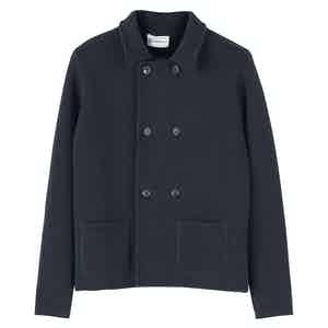 Navy Blue Wool Short Double-Breasted Mac