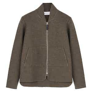 Grey Wool Long-Sleeved Car Vest