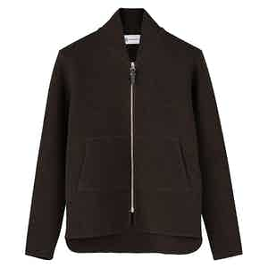 Brown Wool Long-Sleeved Car Vest