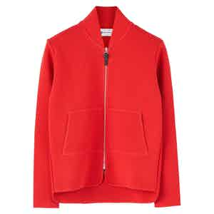 Red Wool Long-Sleeved Car Vest