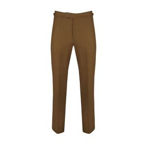 Tobacco Linen Trousers With Side Adjusters