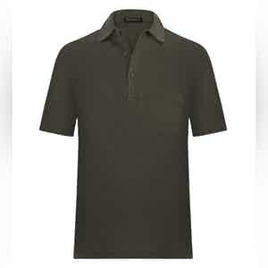 Seaweed Green Cotton Polo Shirt