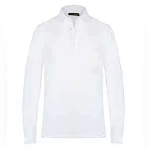 White Cotton Long-Sleeved Polo Shirt