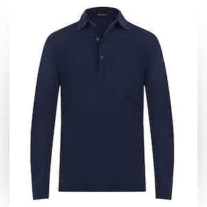 Dark Blue Cotton Long-Sleeved Polo Shirt