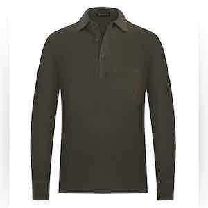 Seaweed Green Cotton Long-Sleeved Polo Shirt