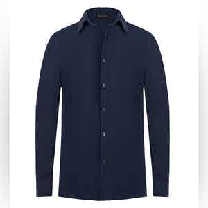 Dark Blue Cotton Button-Up Shirt