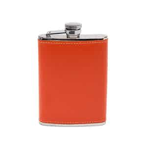 Orange Sterling 6oz Captive Top Hip Flask