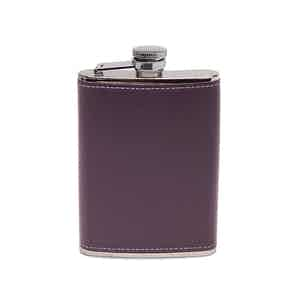 Purple Sterling 6oz Captive Top Hip Flask