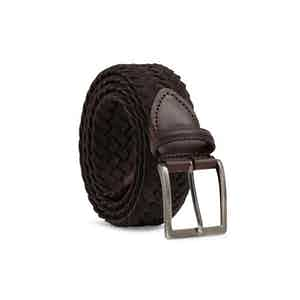 Brown Edoardo Braided Suede Belt