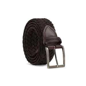 Brown Edoardo Braided Suede Belt