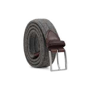 Grey Braided Wool Belt Giovanni