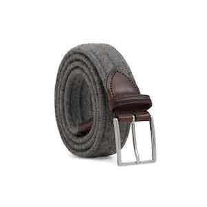 Grey Braided Wool Belt Giovanni