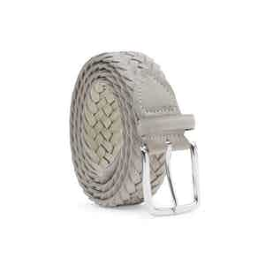 Sand-Grey Braided Suede Belt Gianluca