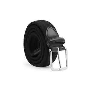 Black Giorgio Elastic Braided Wool Belt