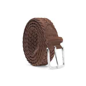 Cognac Braided Suede Belt Gilberto