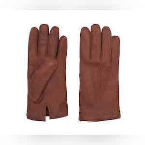 Cashmere-Lined Tobacco Peccary Gloves Camillo