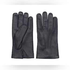 Blue Emanuele Deer Leather Gloves