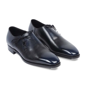 Iridescent Blue And Black Wholecut Shoes
