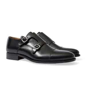 Black Leather Firenze Double Monkstrap Shoes