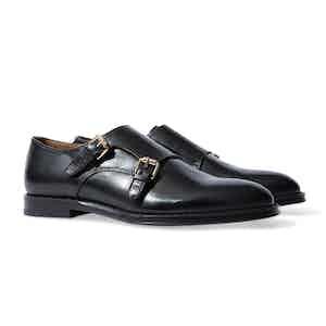 Black Embossed Leather Newton Double Monkstrap Shoes
