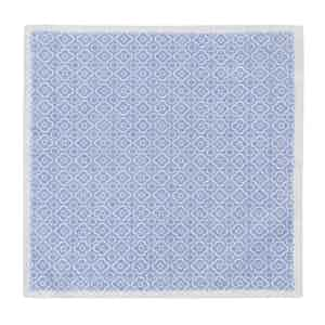 Sky Blue and White Cotton Mosaic Pocket Square