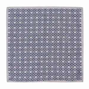 Navy and Grey Cotton Mosaic Pocket Square