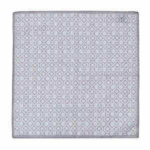 Grey and Sky Blue Cotton Mosaic Pocket Square