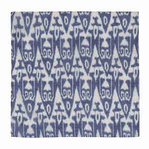 Navy and White Cotton Ikat Pocket Square