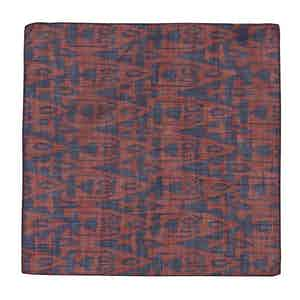 Burgundy and Navy Cotton Ikat Pocket Square