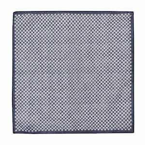 Navy Cotton Mini-Squares Pocket Square