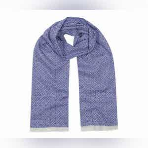 Indigo Blue and White Tubular Cotton Mosaic Scarf