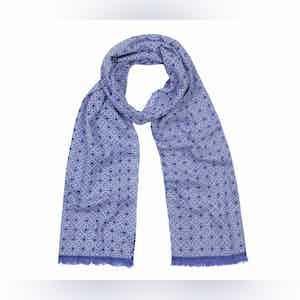 Sky Blue and Indigo Tubular Cotton Mosaic Scarf