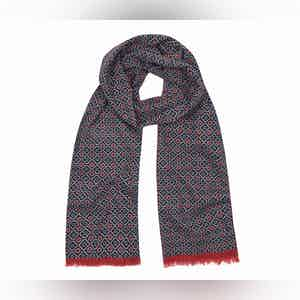 Navy and Red Tubular Cotton Mosaic Scarf