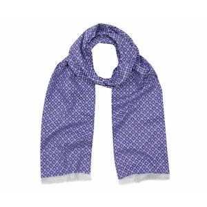 Indigo Blue Tubular Cotton Tile Scarf