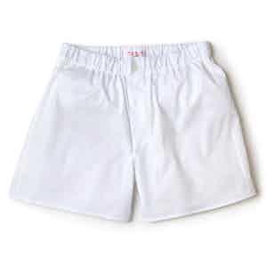 White Superior Patchwork Cotton Boxer Shorts