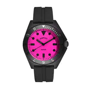 Black and Neon Pink Steel Mayfair Watch
