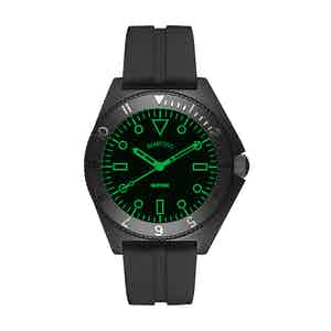 Black Steel Mayfair Watch With Neon Green Accent