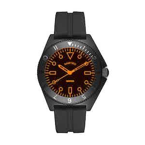 Black Steel Mayfair Watch With Neon Orange Accent