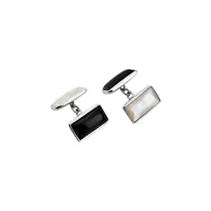 Reversible Sterling Silver Rectangle Cufflinks