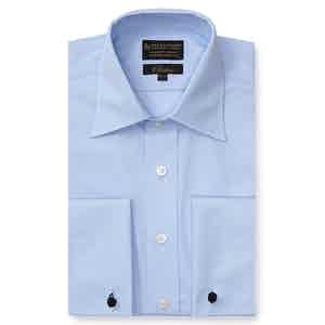 Pale Blue Poplin St James's Collar Classic Fit Double Cuff Shirt
