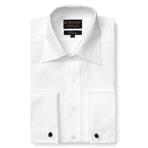 White Poplin St James's Collar Classic Fit Double Cuff Shirt