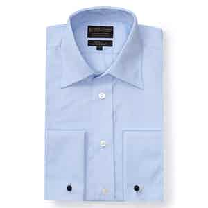 Pale Blue Poplin St James's Collar Tailored Fit Double Cuff Shirt