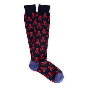 Black and Red Skull and Crossbones Long Cotton Socks